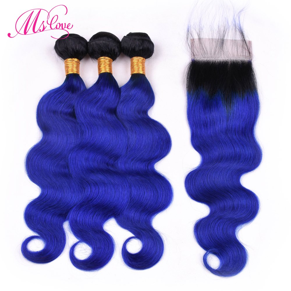 Ms Love Pre Colored Ombre T1b Blue Bundles With Closure Body Wave Hair Remy Brazilian Human Hair Bundles With Lace Closure