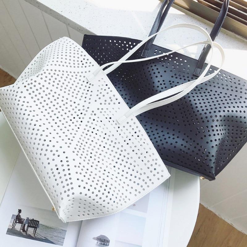Summer Women Dot Hollow Out Casual Tote Lady Graceful Cutout Handbag Fashion Messenger Shoulder Bag Black White Design Beach Bag