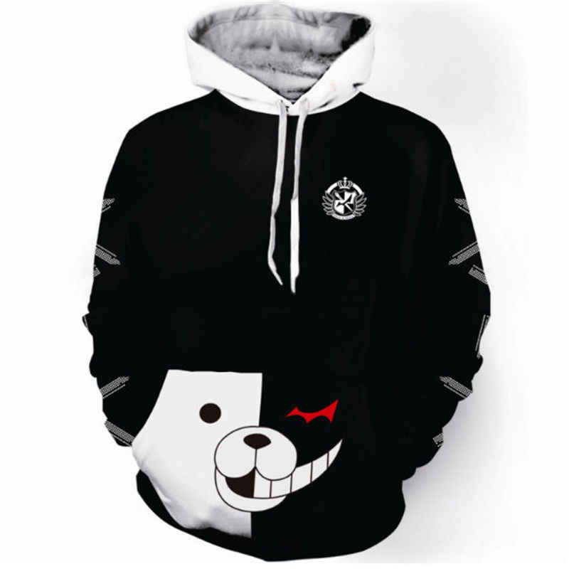 Japanese Anime Danganronpa: Trigger Happy Havoc Black And White Bear Cosplay High Quality Coat Hoodies S-5XL Unisex