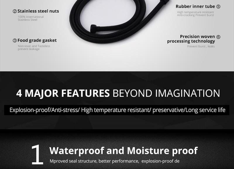 hm Plumbing Hoses Black Shower Hose 1.5m Plumbing Hose Bath Products Bathroom Accessories SUS304 Black Shower Tubing Hoses (3)