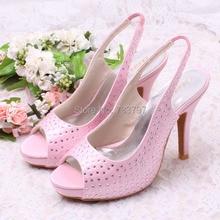 (20สี)ที่กำหนดเองที่จะทำให้สีชมพูรองเท้าส้นสูงคริสตัลเปิดนิ้วเท้ารองเท้าเพื่อนเจ้าสาว