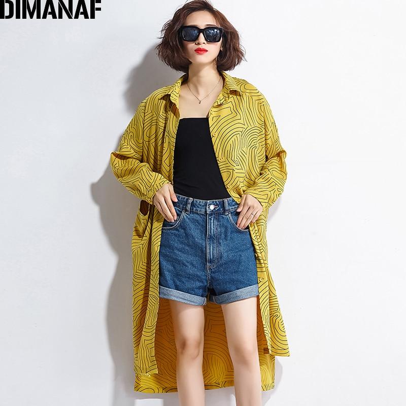 DIMANAF Women   Blouse     Shirt   Long Sleeve Cardigan Autumn Femme Print Yellow Plus Size Loose Fashion Streetwear Lady Large Clothing