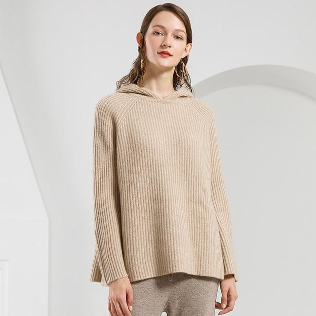 e26b170e US $184.4 |100% czystego kaszmiru sweter z kapturem kobiet sweter jesień  zima dzianiny damskie grube ciepłe luźne damskie bluzy 2019 w 100% ...