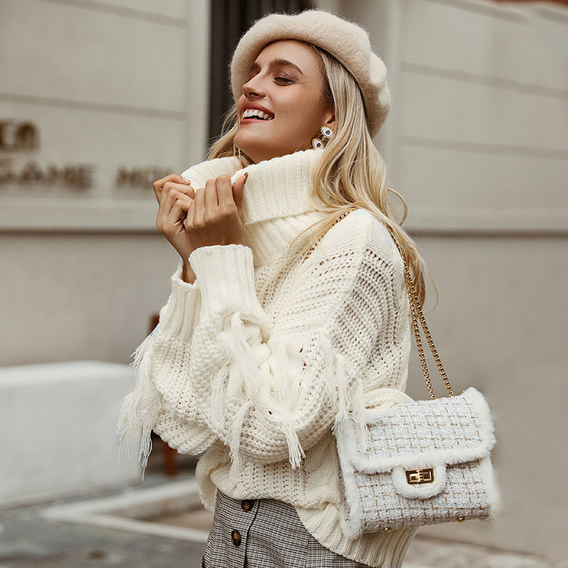 Conmoto Solid Deep Gray Casual Women Sweaters 19 Winter Turtleneck Knitwear Sweater Oversized Tassel Knitted Pullovers Jumpers 2