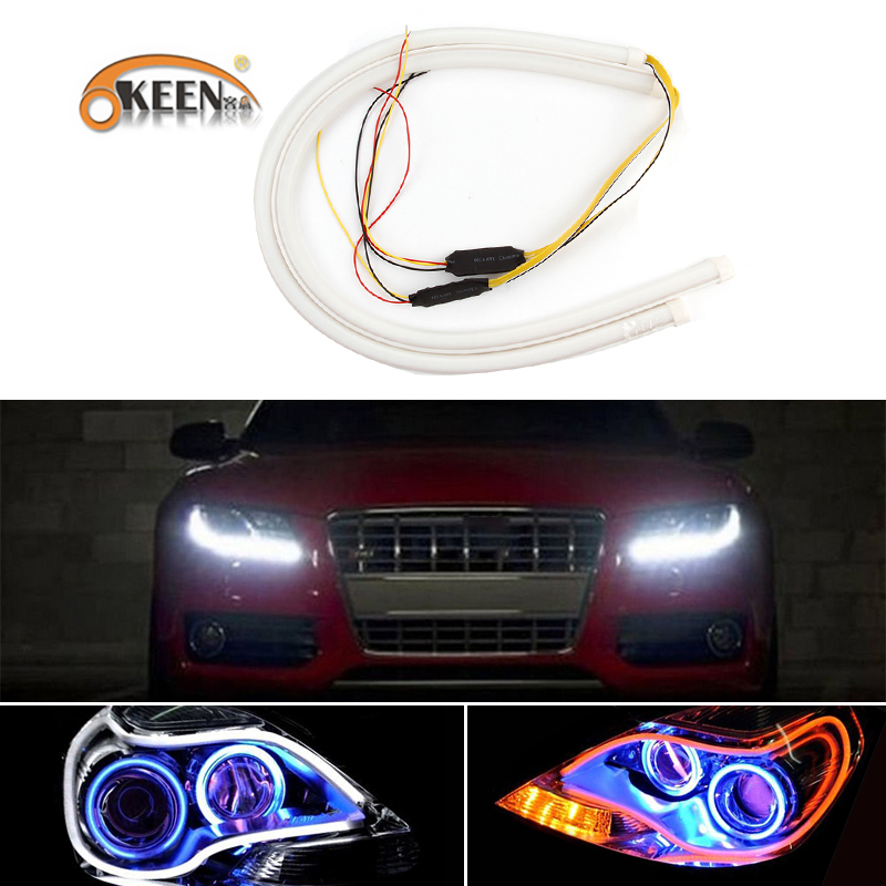 OKEEN 2 pcs 60 cm Séquentielle Flowing Angel Yeux DRL Flexible LED Tube Bande Daytime Running Light Jaune Clignotants car Styling