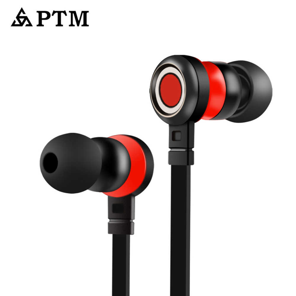 Asli PTM P5 Earphone Headphone Bass Stereo Headphone Musik Earbud dengan Mikrofon Handsfree untuk Ponsel Xiaomi iPhone