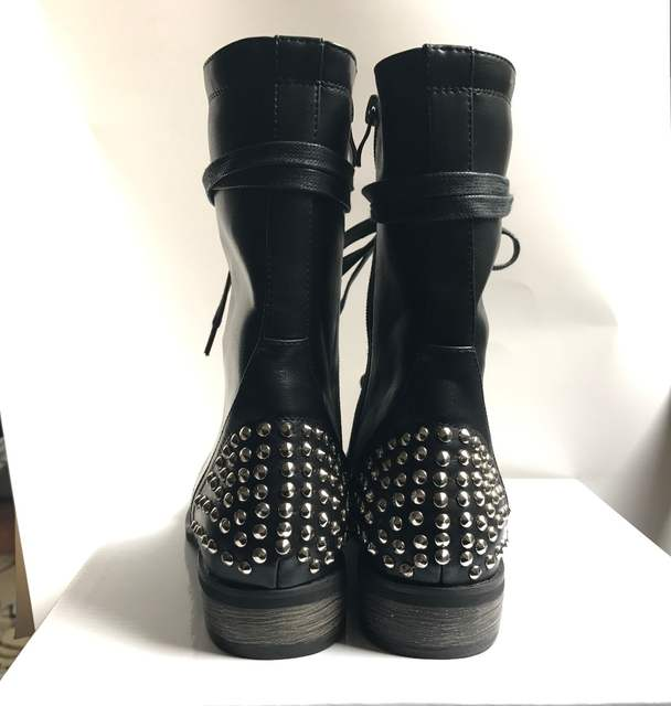 9829e914ff12 Women Combat Boots Black 2018 Flat Rivets Ankle Boots Cool Girl Studs  Booties Lace Up Punk