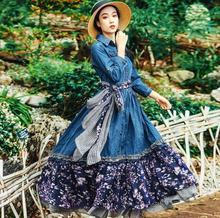 9e8598414c 2018 New Autumn Women Vintage Lolita Style Denim stitching Print Dresses  Female