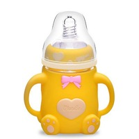 240ml Baby Feeding Bottles Explosion proof Infant Glass Milk Bottle Non toxic Feeding Kid Cup Straw Handle Cartoon Baby Supplies