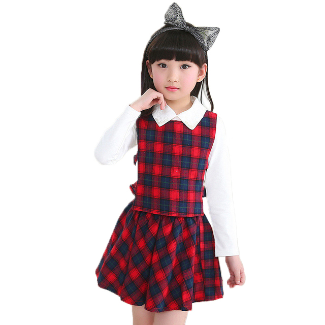 2016 Baby Kids 3pcs/set Plaid Clothes Autumn Winter Style School Uniform For Girls Long-sleeve And Pants Clothing Sets