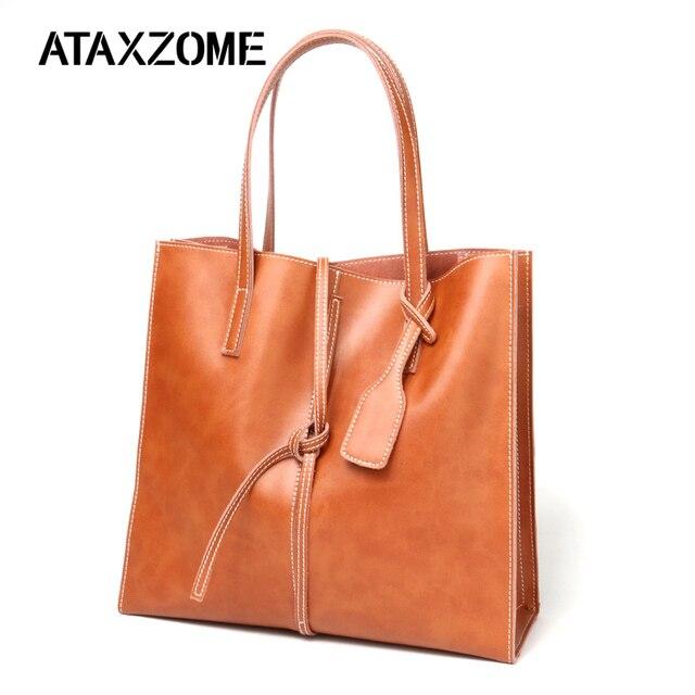 635674976b51 Women Messenger Bags genuine Leather Casual cowhide Handbags Female  Designer Bag Vintage Big Size Tote Shoulder Bag High Quality