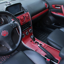 سيارة التصميم الجديد سيارة الداخلية مركز وحدة التحكم تغيير لون ألياف الكربون صب ملصق الشارات لمازدا 6 2006 2015