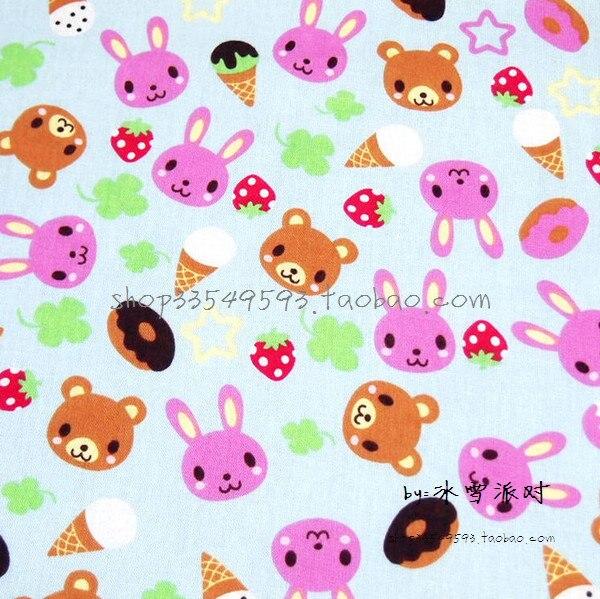 140X100cm Rabbit Bear Ice Cream Strawberry Blue Cotton Fabric Girl Cloth Curtain Cushion Cover Hometextile Quilting DIY-AFCK719