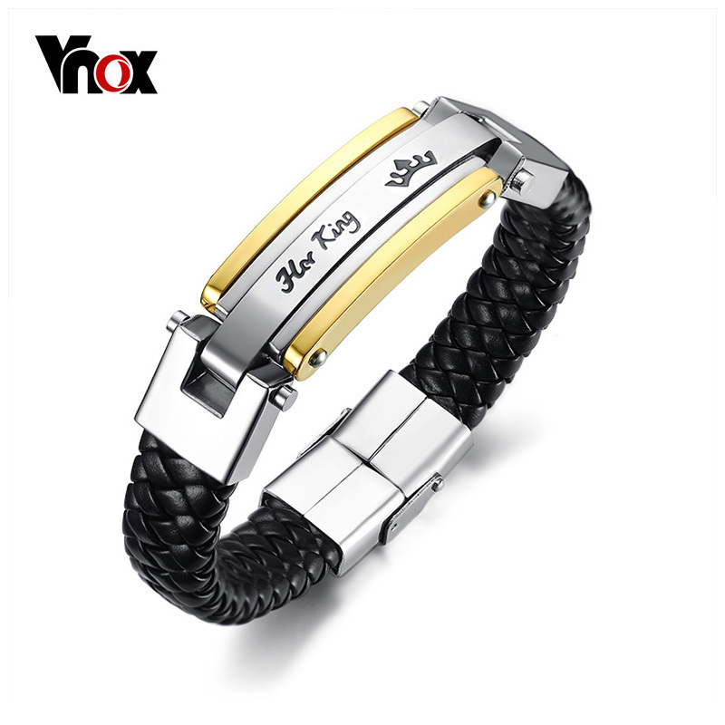 Vnox Her King His Queen Couple Bracelets Lover Crown Charm Leather Bracelet for Women Men Promise Gift Jewelry 8.66