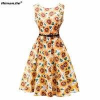 HimanJie Vintage Elbiseler ayçiçeği Baskı Çiçek Bir Çizgi O Boyun 1950 s Tarzı Zarif Parti Patchwork Kolsuz kemer tankı Elbiseler