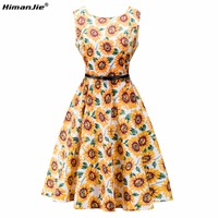 HimanJie Vintage Dresses Sunflower Print Floral A Line O Neck 1950s Style Elegant Party Patchwork Sleeveless