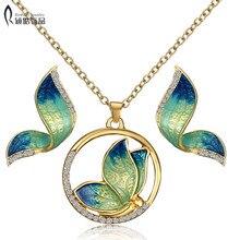 купить Animal Butterfly Jewelry sets Wedding Necklace Earrings Jewelry Sets Imitation pearls enamel necklace earring set for women по цене 129.35 рублей