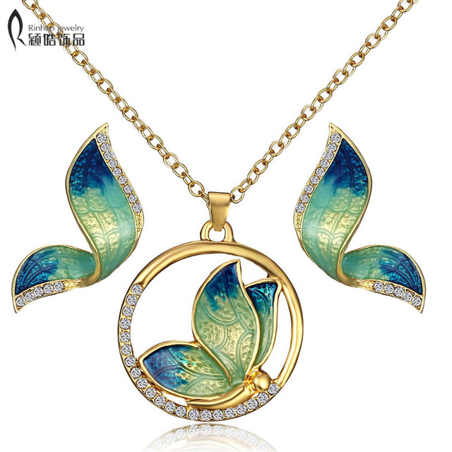 Animal Butterfly Jewelry sets Wedding Necklace Earrings Jewelry Sets Imitation p