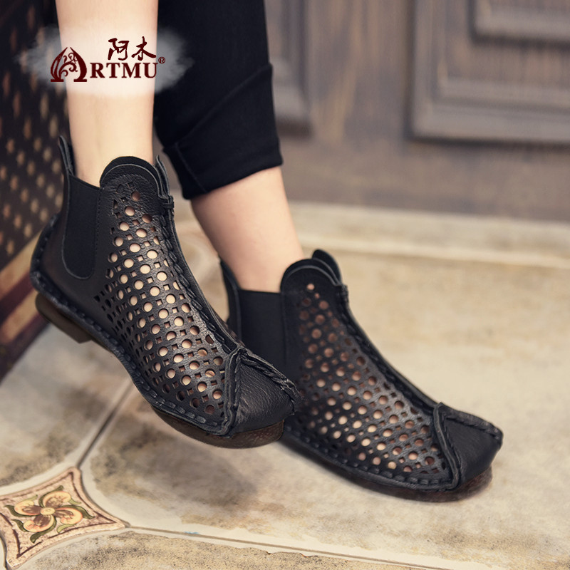 Artmu 2019 Hot Woman Sandals Shoes Hollow Boots Chelsea Boots Famale Handmade Genuine Leather Shoes Slip