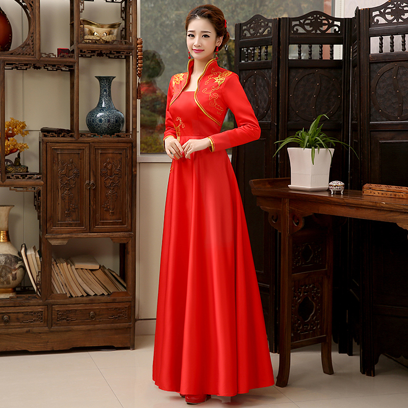 Autumn Winter New Women Embroidery Flower Satin Cheongsam Chinese Bride Wedding Dress Long Sleeve Evening Qipao Party Gowns