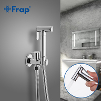 FRAP Bidet faucets single solid brass cold water corner crane 90 degree switch valve bidet function cylindrical hand shower tap