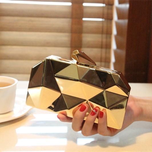 2017 women new fashion geometric three-dimensional metal chain ladies handbag evening bag day clutches mini wedding party bag