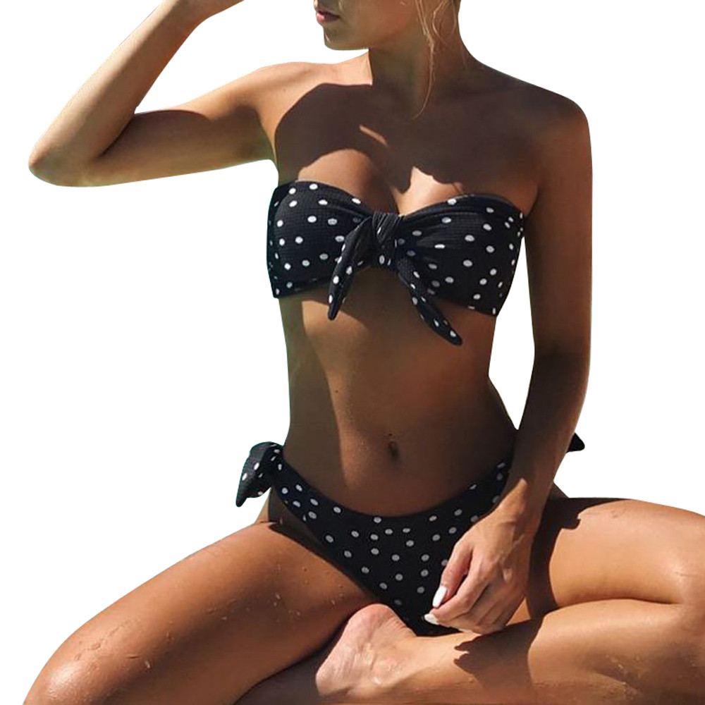 swimwear women Summer 2018 Sexy Dot Printed Bikini Set Push-Up Padded Plus Size Swimwear Swimsuit Beachwear bather bikini mayo 2018 new swimwear women plus size push up printed sexy bikini set summer dress black pants xl 5xl large size swimsuits