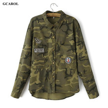 GCAROL Women New Camouflage Blouses Asymmetric Length Patch Design Army Style Shirts Girl's Casual Streetwear Handsome Tops