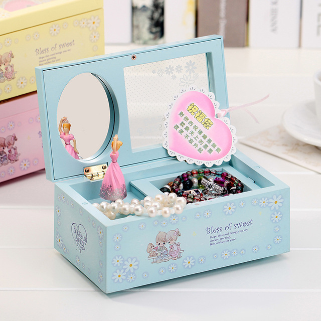 DIY Girl Ballerina Music Box Rectangle with Mirror Musical Jewellery