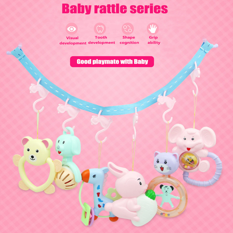 6pcs/set Baby Toys Sensory Cartoon Animals Infant Rattle Appease Toys Stroller Toy For Toddlers 0-12 Month Crib Mobile Hanging(China)