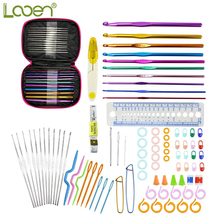 Looen Brand 90pcs Crochet Hooks Set  Ergonomics Knitting Needles Aluminum Weave Craft Sewing Collection with Pink Carrying Case