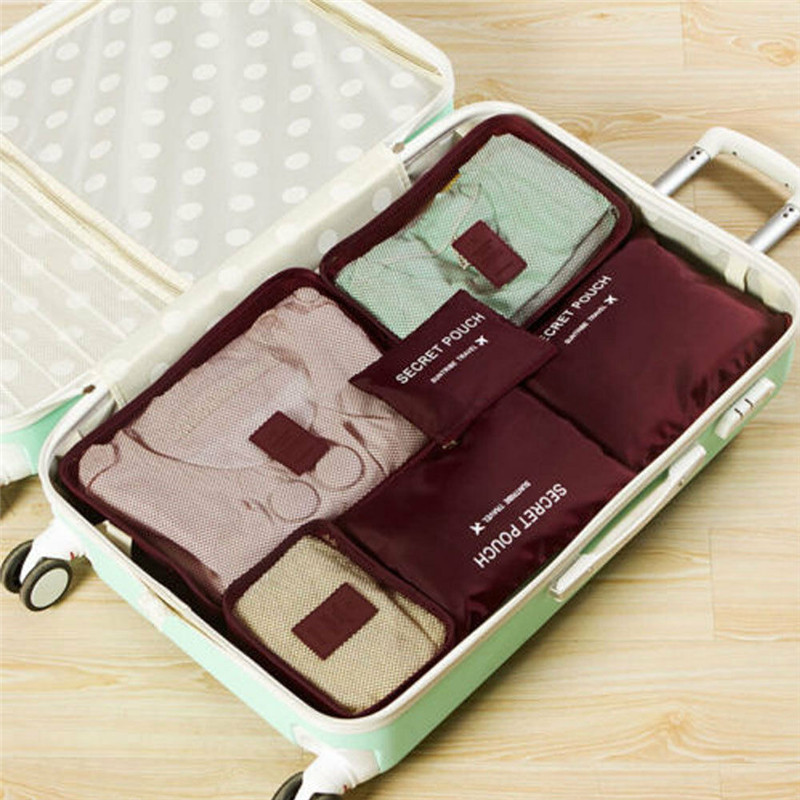 6Pcs Portable Multicolor Waterproof Travel Storage Bags Clothes Packing Cube Luggage Organizer Pouch
