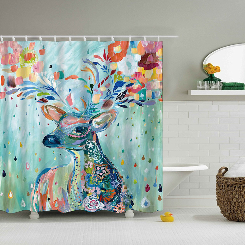 Sika Deer Oil Painting Shower Curtains Polyester New Design Douchegordijn  Rideau Douche En Tissu Bathroom Curtains Waterproof