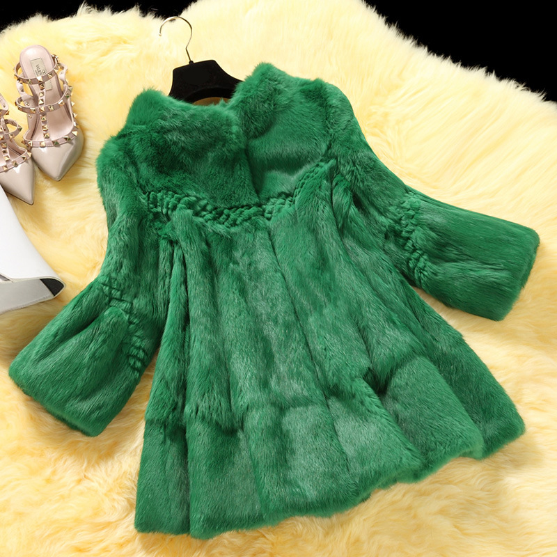 Elegant Stand Collar Wave Cut Loose Fit Full Pelt Natural Rabbit Fur Coat Outerwear Women's Autumn Winter 2018 Real Fur Jacket