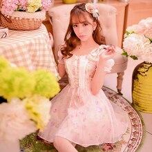 Милое платье принцессы в стиле «Лолита»; сезон весна-лето; милое шифоновое платье с бантом и открытыми плечами; C15AB5679