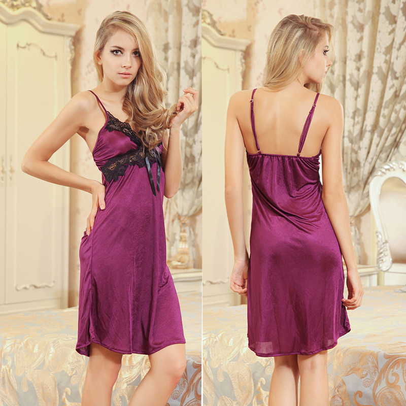 dd18def8a 2017 New Women Sleeping New Lace Faux Silk Sleepwear Purple Deep V-Neck  Lingerie Satin Sexy Nightgown Camison Vestido