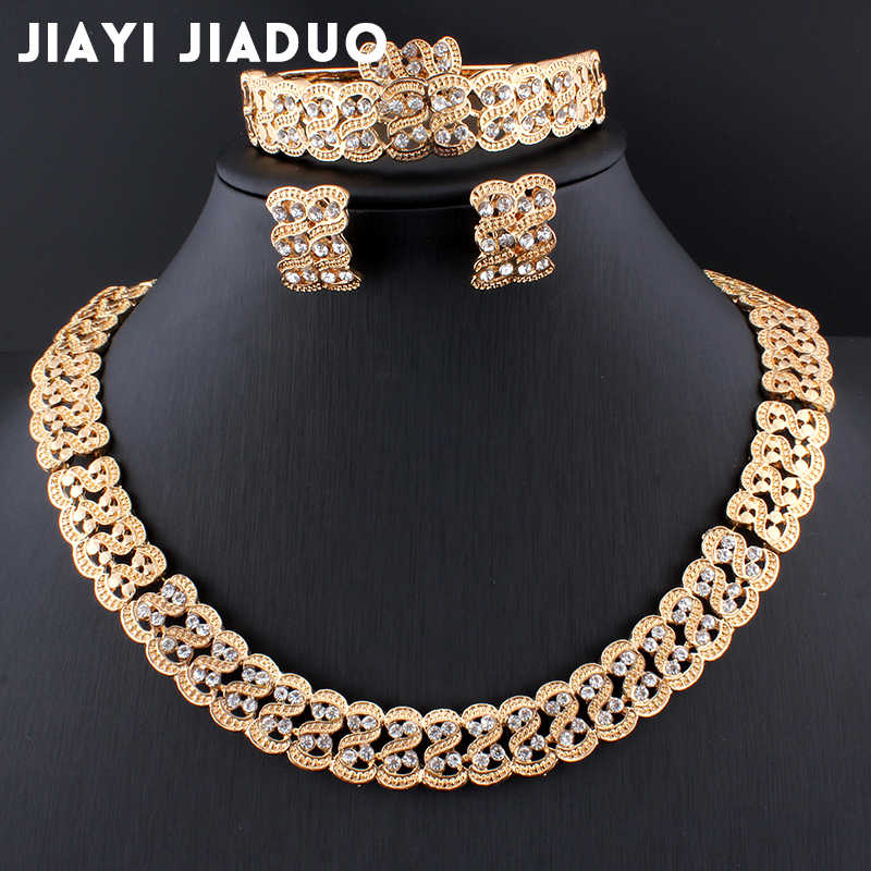 jiayijiaduo Gold Color African Pearl Wedding Jewelry Dubai Gold Jewelry Sets Romantic Color Design Jewelry Sets Long Necklace