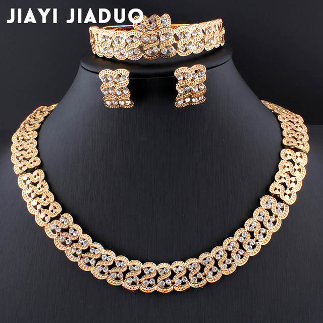 Hesiod Indian Wedding Jewelry Sets Gold Color Full Crystal: Aliexpress.com : Buy Jiayijiaduo Gold Color African Pearl