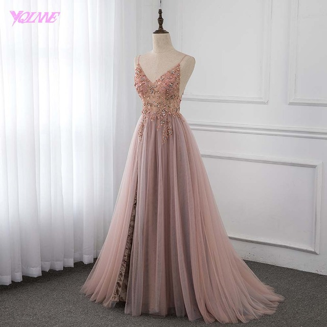Sweet Dusty Pink Crystal Prom Dresses Long Straps Spaghetti See Through Tulle Evening Gown Slit Right YQLNNE 2