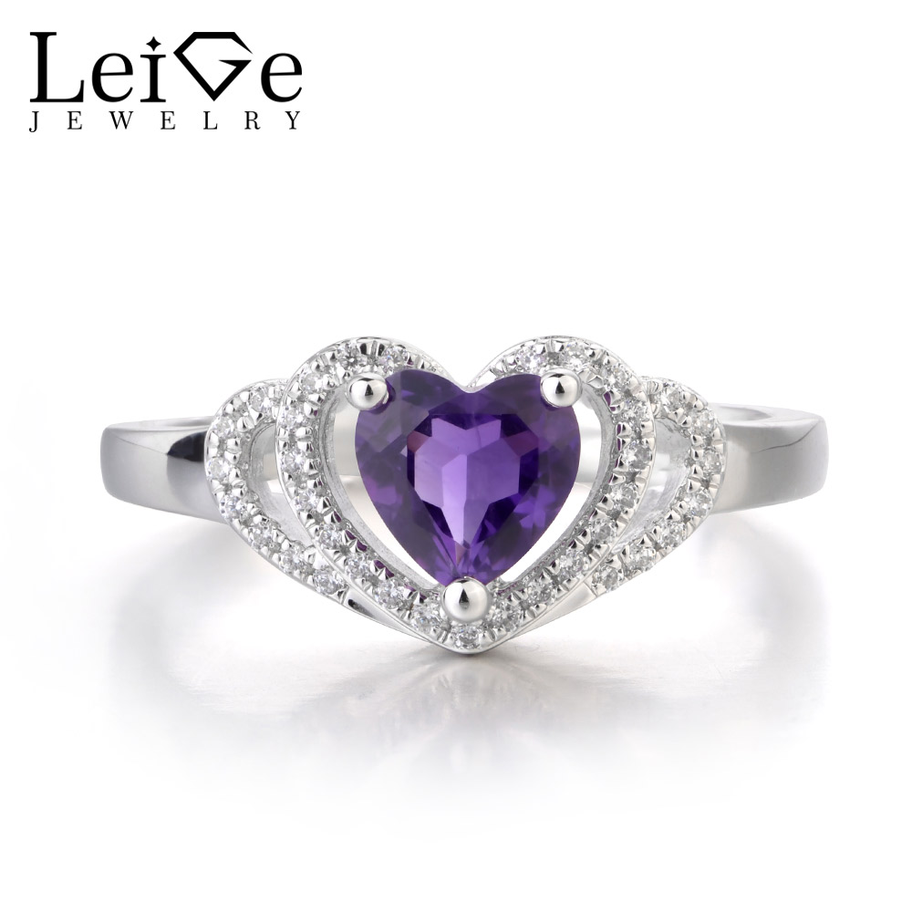 Leige Jewelry Natural Amethyst Purple Color Rings Heart Shape Wedding Bands Engagement Ring Classic Style Gifts for WomanLeige Jewelry Natural Amethyst Purple Color Rings Heart Shape Wedding Bands Engagement Ring Classic Style Gifts for Woman