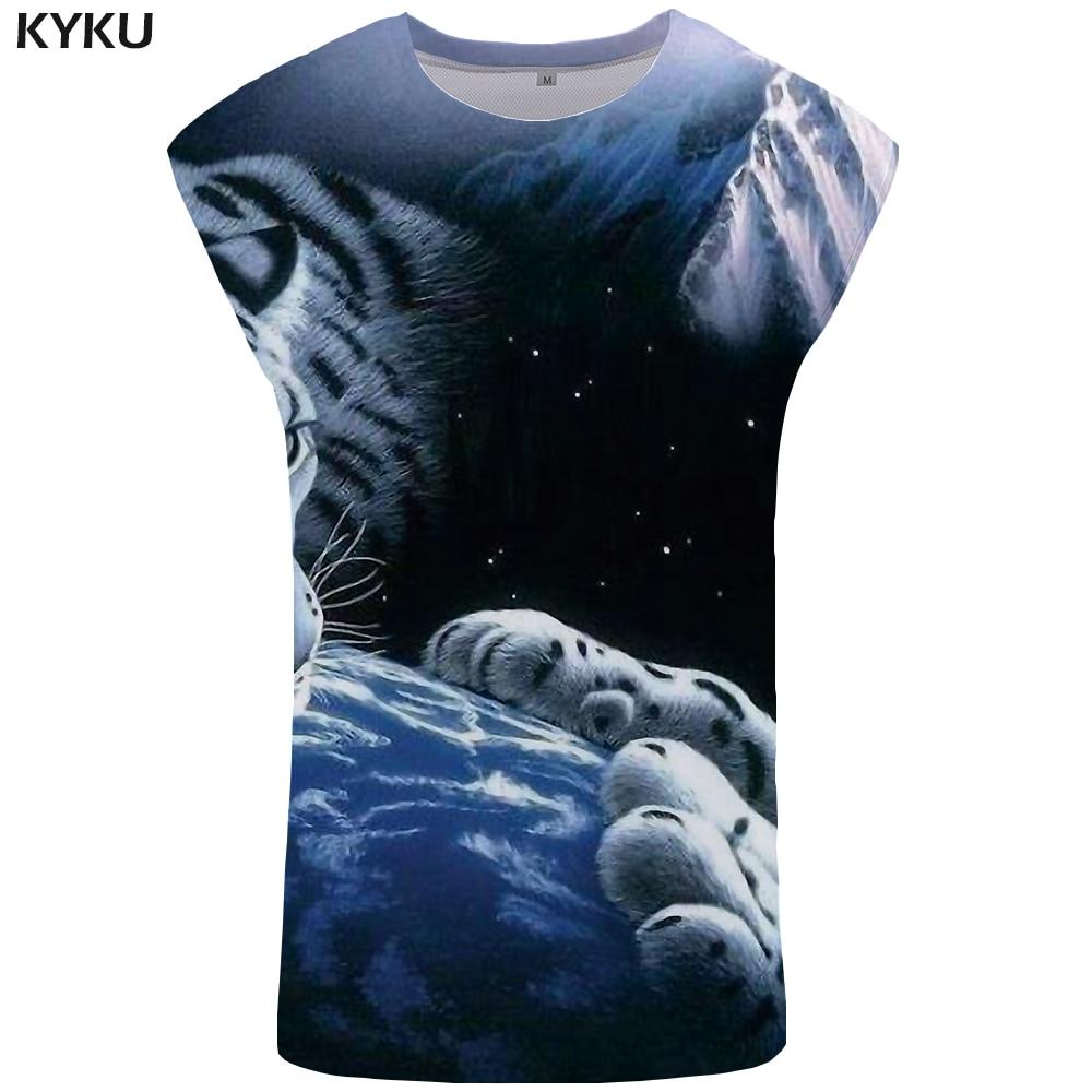 KYKU Brand Tiger   Tank     Top   Men Galaxy Singlet Animal Stringer Earth Ftness Clothing Undershirt Mens Bodybuilding