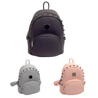 Simple Style Designer Small Backpack Women Gray And Black Travel PU Leather Ladies Backpacks Fashion Female