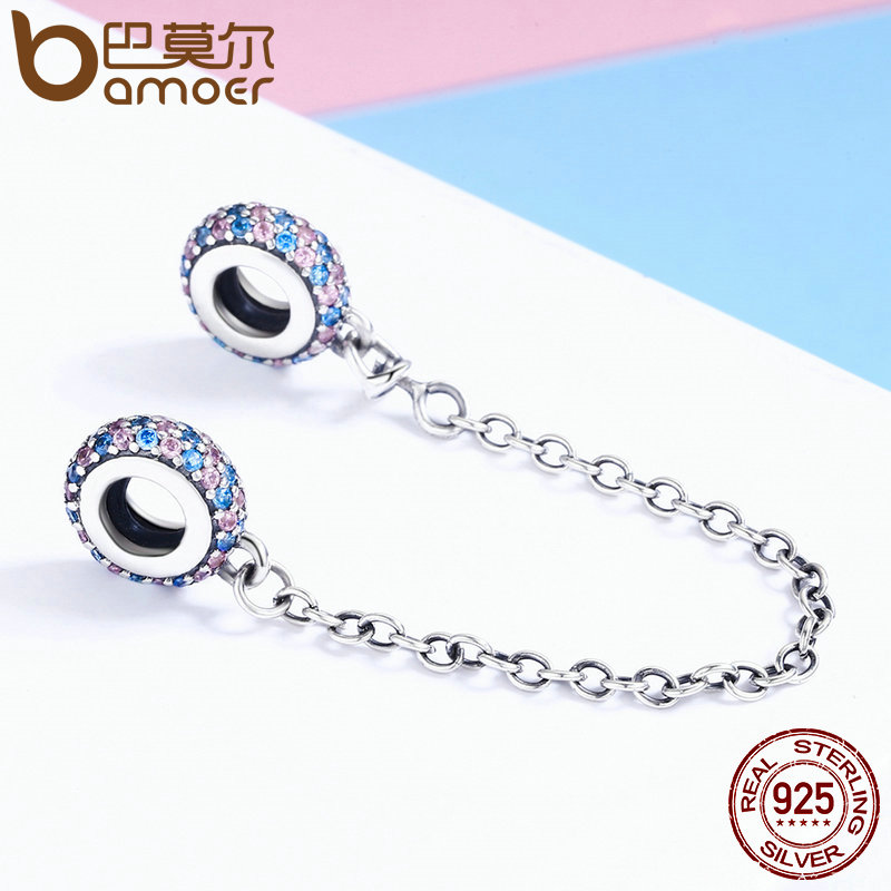 BAMOER Real 100% 925 Sterling Silver Pink and Blue CZ Round Safety Chain Charm Fit Charm Bracelet DIY Jewelry Making SCC379
