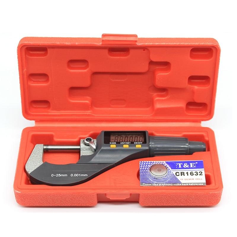Высокоточный электронный Внешний диаметр микрометра батареи 0,001 мм CR1632 0-25 мм с ЖК-цифровым микрометром, цифровой штангенциркуль