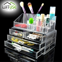 WITUSE 4 Drawers Clear Acrylic Jewellery Cosmetic Organizer Box Makeup Storage Drawer Desk Bathroom Makeup Brush Lipstick Holder