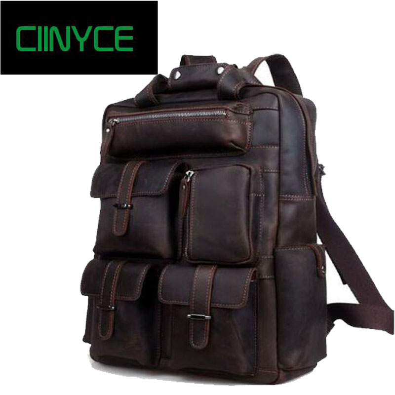 Multifunction Genuine leather men backpack bag vintage crazy horse cow leather large capacity travel rucksack anti thief Mochila multifunction genuine leather men backpack bag vintage crazy horse cow leather large capacity travel rucksack anti thief mochila