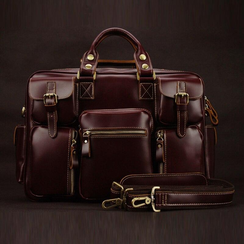 De lujo de los hombres de cuero genuino de bolsas de viaje bolsa de equipaje grande de cuero de los hombres de bolsas de lona bolsa de Fin de Semana de la noche a la mañana bolso m038 #-in Bolsas de viaje from Maletas y bolsas    1