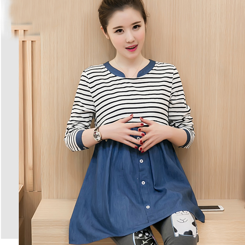 9e7b2e8c8 Korean Maternity Blouse Clothes Pregnant Tops t shirt Breastfeeding Shirts  Nursing Tees Pregnancy Striped Nurse Wear Clothing -in Tees from Mother    Kids