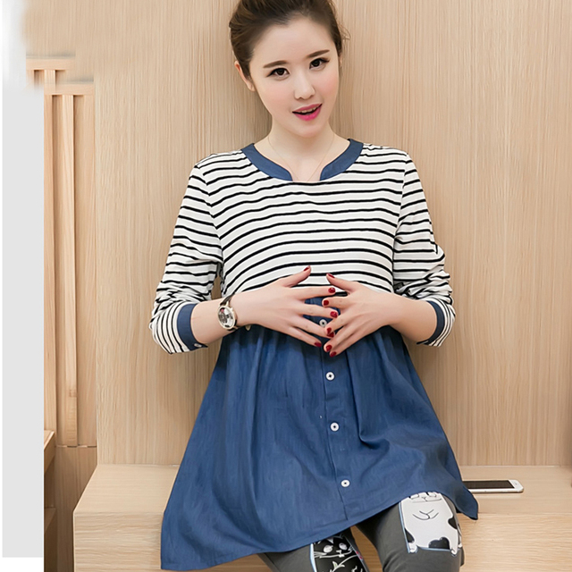 Korean Maternity Blouse Clothes Pregnant Tops t shirt Breastfeeding Shirts Nursing Tees Pregnancy Striped Nurse Wear Clothing