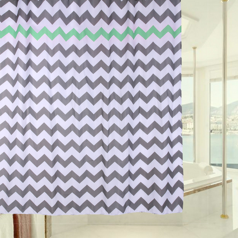 1pcs bathroom shower curtains 180 x 180cm 3d wave striped shower curtain waterproof printing bath curtain